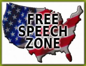 image of USA with FREE SPEECH ZONE written on it in red white and blue