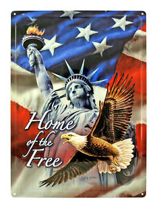 image of all USA symbols: statue of liberty, bald eagle, American flag with words home of the FREE