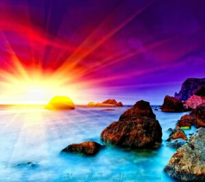 ocean and sunset with beautiful colors